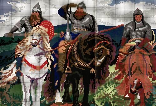 Вышивка крестиком три богатыря 3